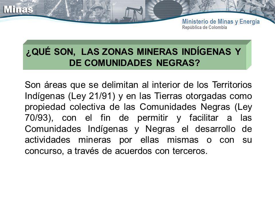 ¿QUÉ SON, LAS ZONAS MINERAS INDÍGENAS Y DE COMUNIDADES NEGRAS? Son áreas que se delimitan al interior de los Territorios Indígenas (Ley 21/91) y en la