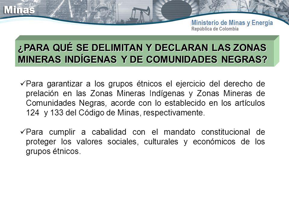 ¿PARA QUÉ SE DELIMITAN Y DECLARAN LAS ZONAS MINERAS INDÍGENAS Y DE COMUNIDADES NEGRAS? Para garantizar a los grupos étnicos el ejercicio del derecho d