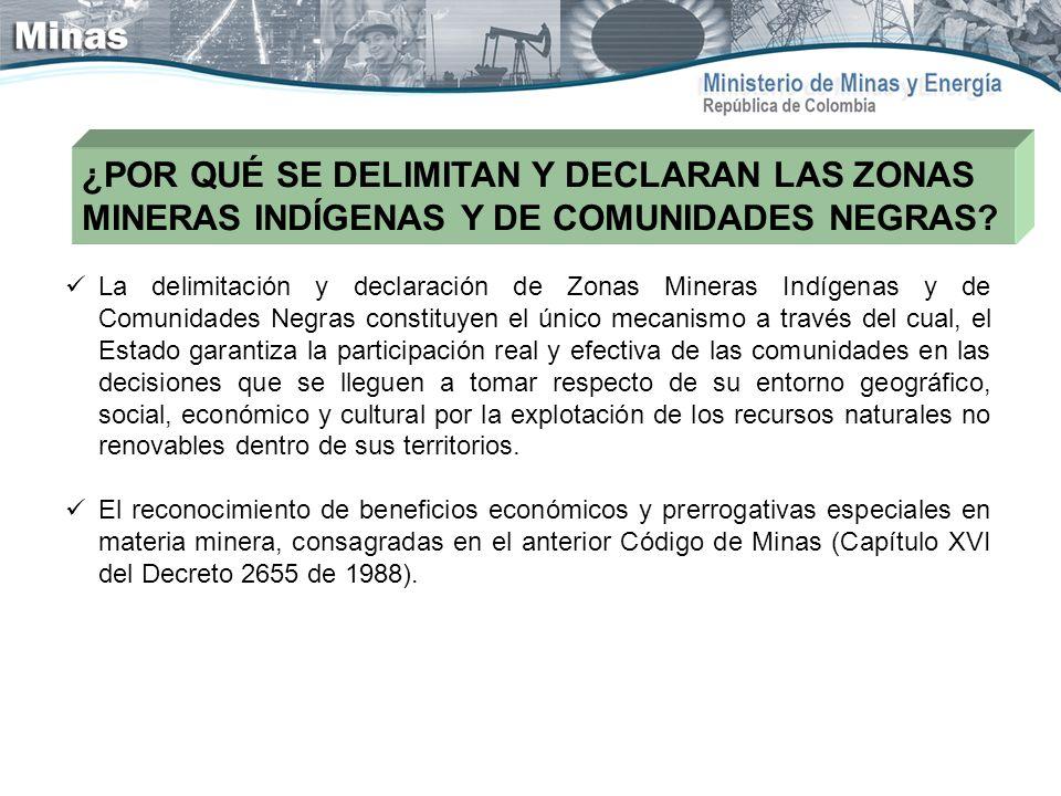 ¿POR QUÉ SE DELIMITAN Y DECLARAN LAS ZONAS MINERAS INDÍGENAS Y DE COMUNIDADES NEGRAS? La delimitación y declaración de Zonas Mineras Indígenas y de Co