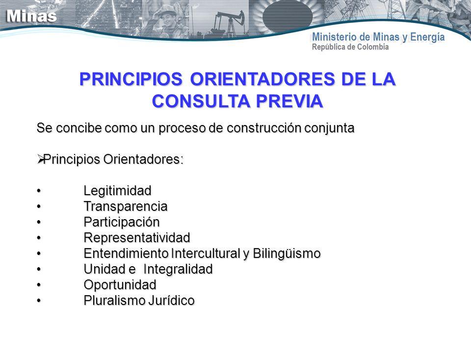 PRINCIPIOS ORIENTADORES DE LA CONSULTA PREVIA Se concibe como un proceso de construcción conjunta Principios Orientadores: Principios Orientadores: Le