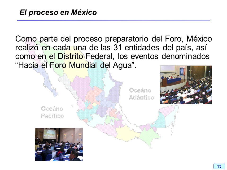 13 Como parte del proceso preparatorio del Foro, México realizó en cada una de las 31 entidades del país, así como en el Distrito Federal, los eventos