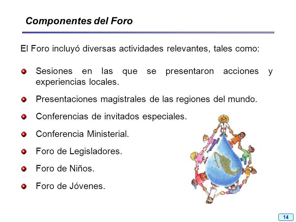 14 El Foro incluyó diversas actividades relevantes, tales como: Componentes del Foro Sesiones en las que se presentaron acciones y experiencias locale