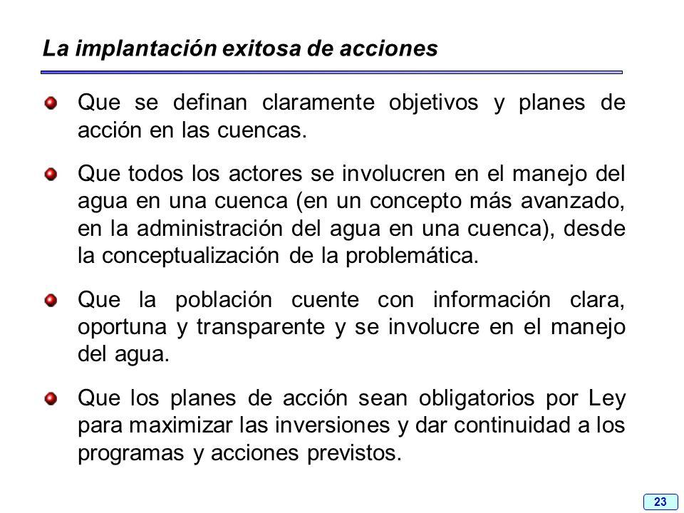 23 La implantación exitosa de acciones Que se definan claramente objetivos y planes de acción en las cuencas. Que todos los actores se involucren en e