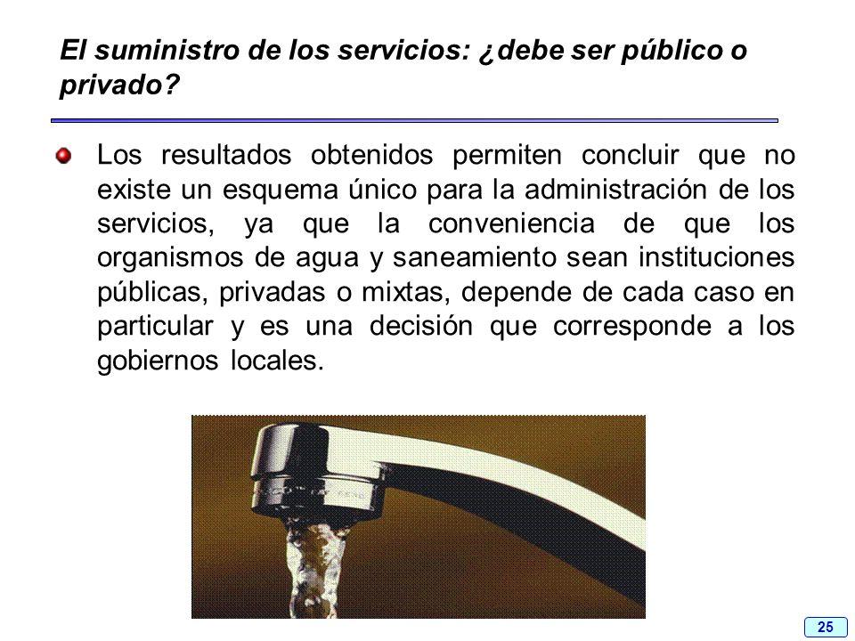 25 El suministro de los servicios: ¿debe ser público o privado? Los resultados obtenidos permiten concluir que no existe un esquema único para la admi