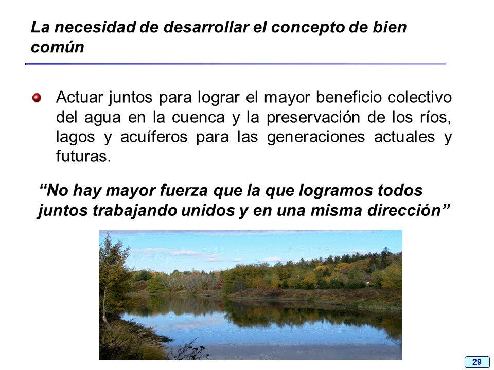 29 La necesidad de desarrollar el concepto de bien común Actuar juntos para lograr el mayor beneficio colectivo del agua en la cuenca y la preservació