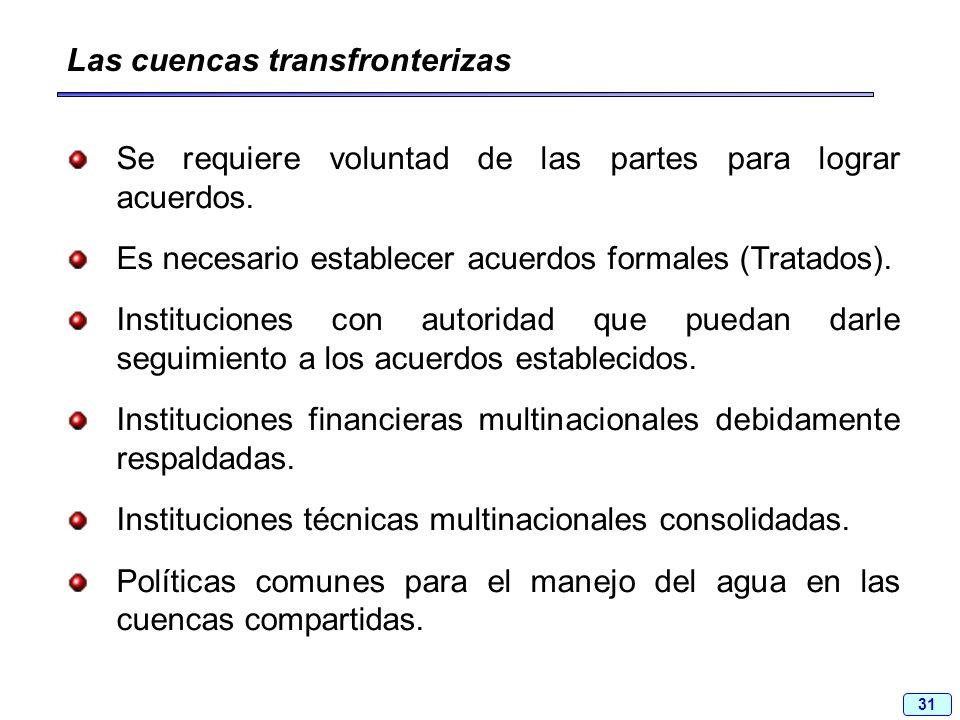 31 Las cuencas transfronterizas Se requiere voluntad de las partes para lograr acuerdos. Es necesario establecer acuerdos formales (Tratados). Institu