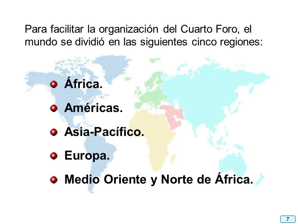 7 Para facilitar la organización del Cuarto Foro, el mundo se dividió en las siguientes cinco regiones: África. Américas. Asia-Pacífico. Europa. Medio