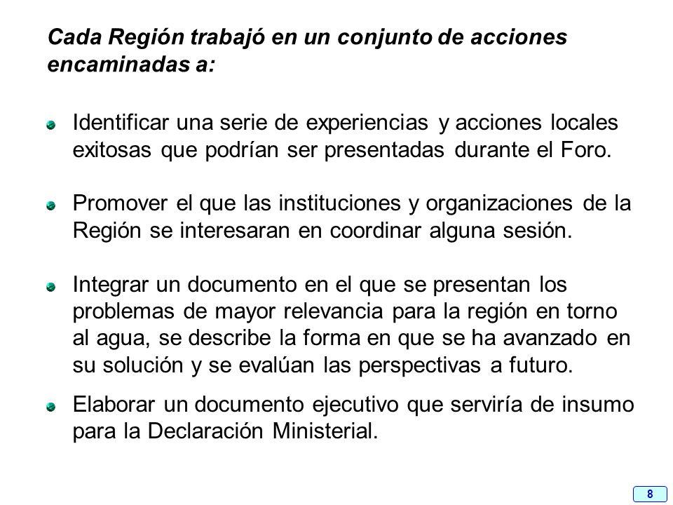 8 Cada Región trabajó en un conjunto de acciones encaminadas a: Identificar una serie de experiencias y acciones locales exitosas que podrían ser pres
