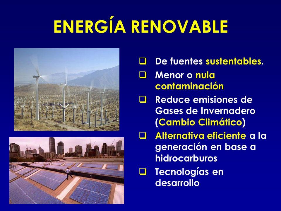 ENERGÍA RENOVABLE De fuentes sustentables. Menor o nula contaminación Reduce emisiones de Gases de Invernadero (Cambio Climático) Alternativa eficient