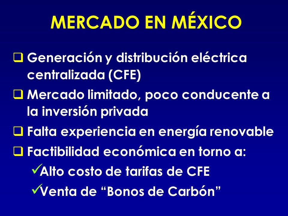 MERCADO EN MÉXICO Generación y distribución eléctrica centralizada (CFE) Mercado limitado, poco conducente a la inversión privada Falta experiencia en