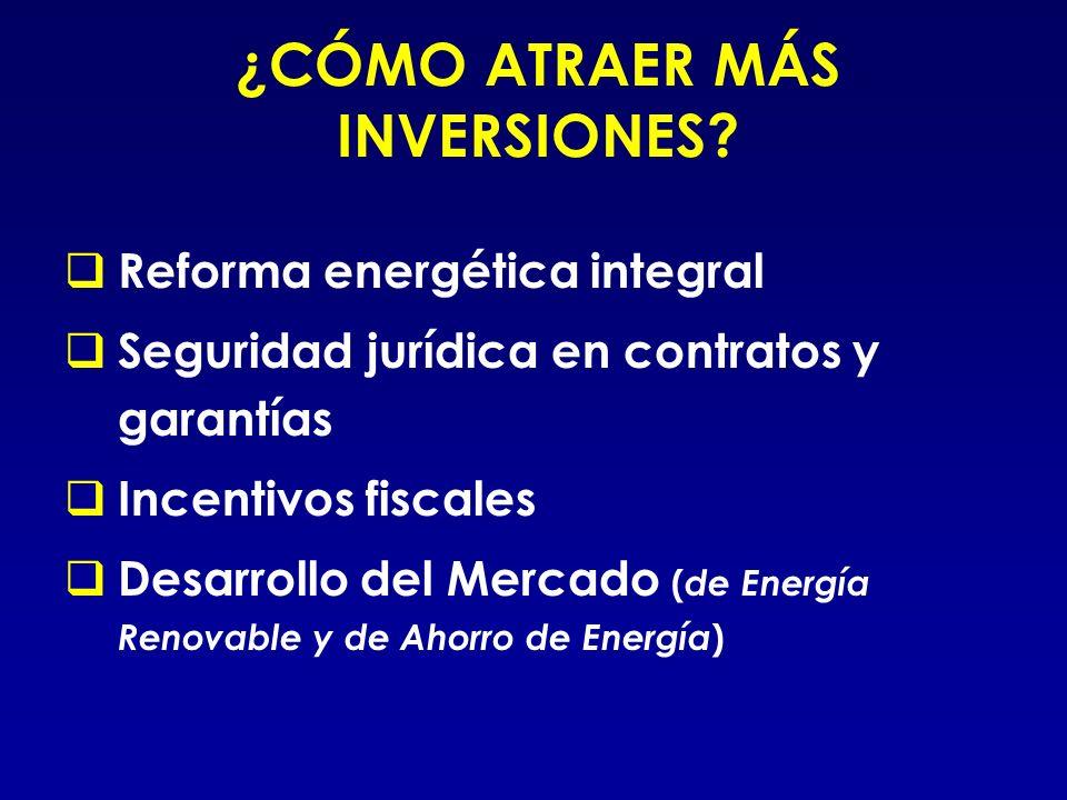 ¿CÓMO ATRAER MÁS INVERSIONES? Reforma energética integral Seguridad jurídica en contratos y garantías Incentivos fiscales Desarrollo del Mercado ( de