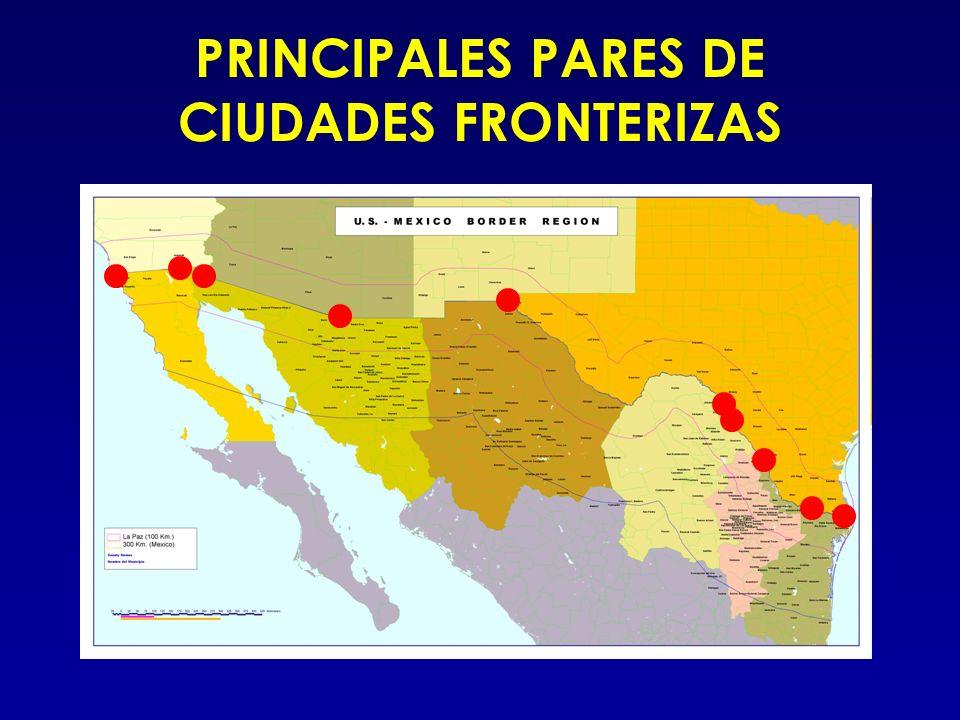 EE.UU.MEX San Diego 1,223,400Tijuana 1,210,820 Calexico 27,109Mexicali 764,602 Yuma 77,515San Luis RC 145,006 Nogales 20,878Nogales 159,787 El Paso 563,662Juárez 1,218,817 Del Rio 33,867Acuña 110,487 Eagle Pass 22,413Piedras Negras 128,130 Laredo 176,576Nuevo Laredo 310,915 McAllen 106,414Reynosa 420,463 Brownsville 139,722Matamoros 418,141