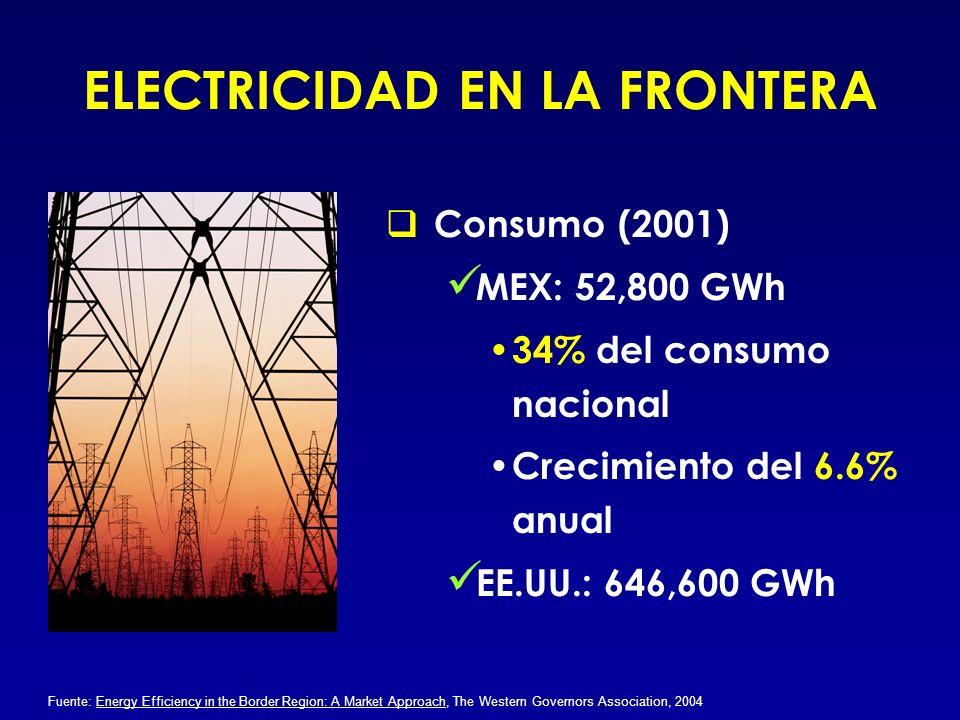 ELECTRICIDAD EN LA FRONTERA Consumo (2001) MEX: 52,800 GWh 34% del consumo nacional Crecimiento del 6.6% anual EE.UU.: 646,600 GWh Fuente: Energy Effi
