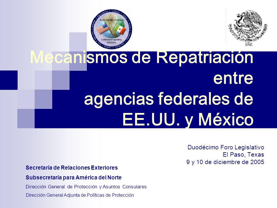 Mecanismos de Repatriación entre agencias federales de EE.UU. y México Duodécimo Foro Legislativo El Paso, Texas 9 y 10 de diciembre de 2005 Secretarí