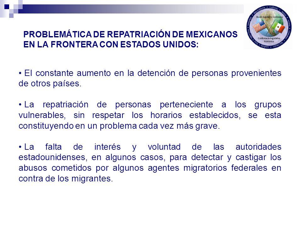 El constante aumento en la detención de personas provenientes de otros países.