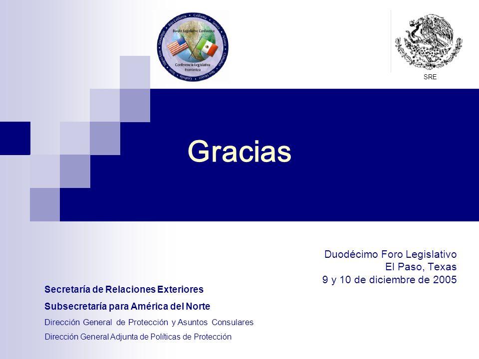Gracias Duodécimo Foro Legislativo El Paso, Texas 9 y 10 de diciembre de 2005 Secretaría de Relaciones Exteriores Subsecretaría para América del Norte Dirección General de Protección y Asuntos Consulares Dirección General Adjunta de Políticas de Protección SRE
