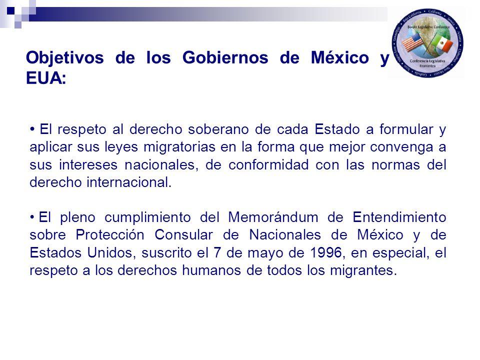 Objetivos de los Gobiernos de México y EUA: El respeto al derecho soberano de cada Estado a formular y aplicar sus leyes migratorias en la forma que m