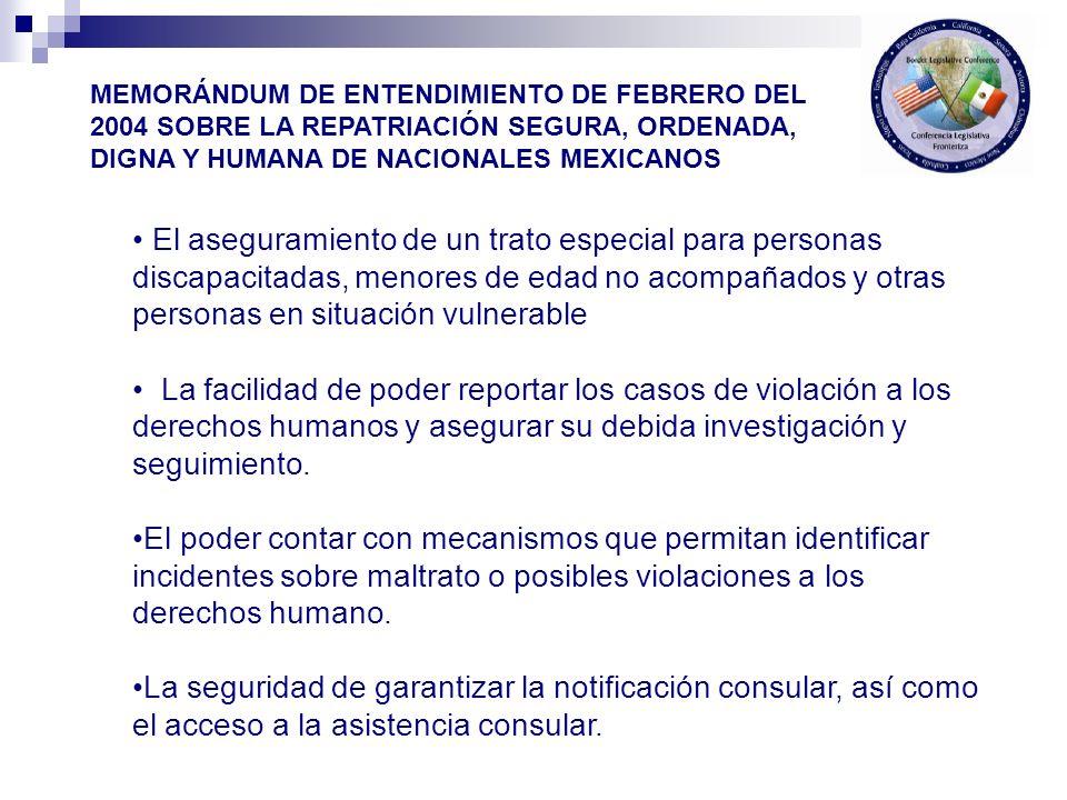 Principios y criterios generales: Las repatriaciones deberían ser llevadas a cabo en forma consistente con respeto de los derechos humanos y la dignidad de los nacionales mexicanos.