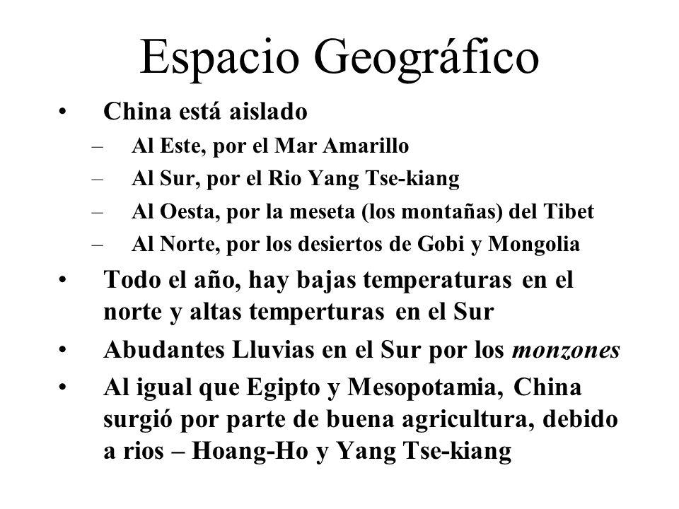 Espacio Geográfico China está aislado –Al Este, por el Mar Amarillo –Al Sur, por el Rio Yang Tse-kiang –Al Oesta, por la meseta (los montañas) del Tibet –Al Norte, por los desiertos de Gobi y Mongolia Todo el año, hay bajas temperaturas en el norte y altas temperturas en el Sur Abudantes Lluvias en el Sur por los monzones Al igual que Egipto y Mesopotamia, China surgió por parte de buena agricultura, debido a rios – Hoang-Ho y Yang Tse-kiang