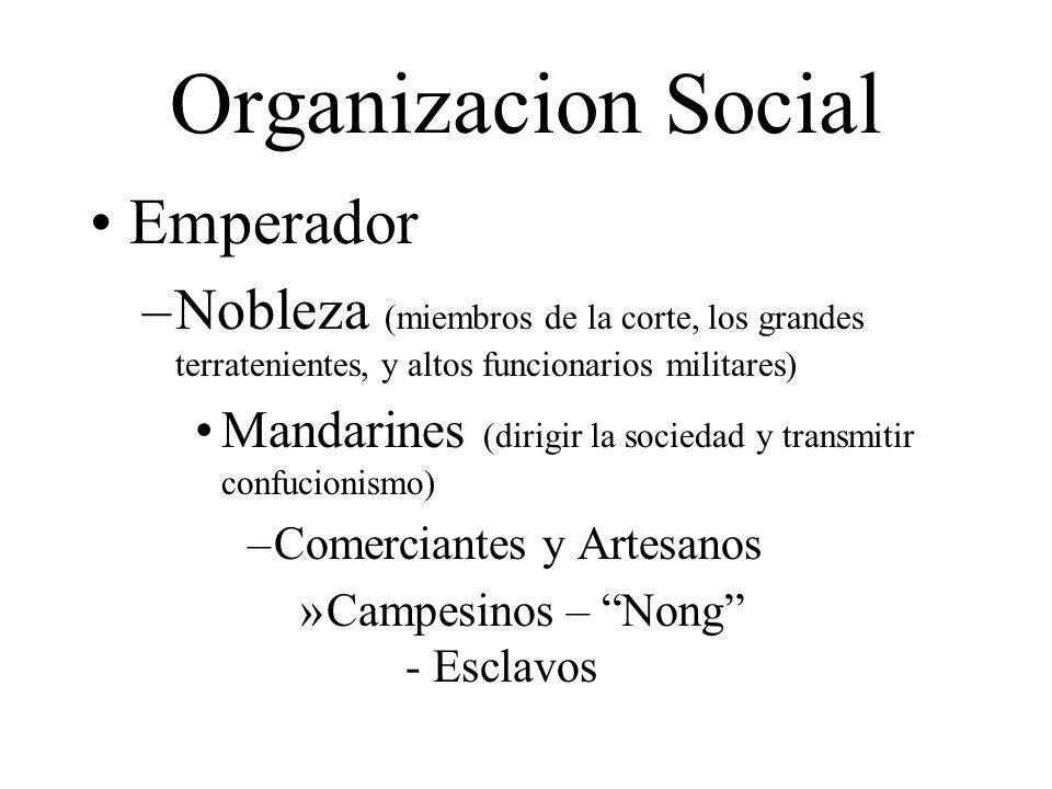 Organizacion Social Emperador –Nobleza (miembros de la corte, los grandes terratenientes, y altos funcionarios militares) Mandarines (dirigir la socie