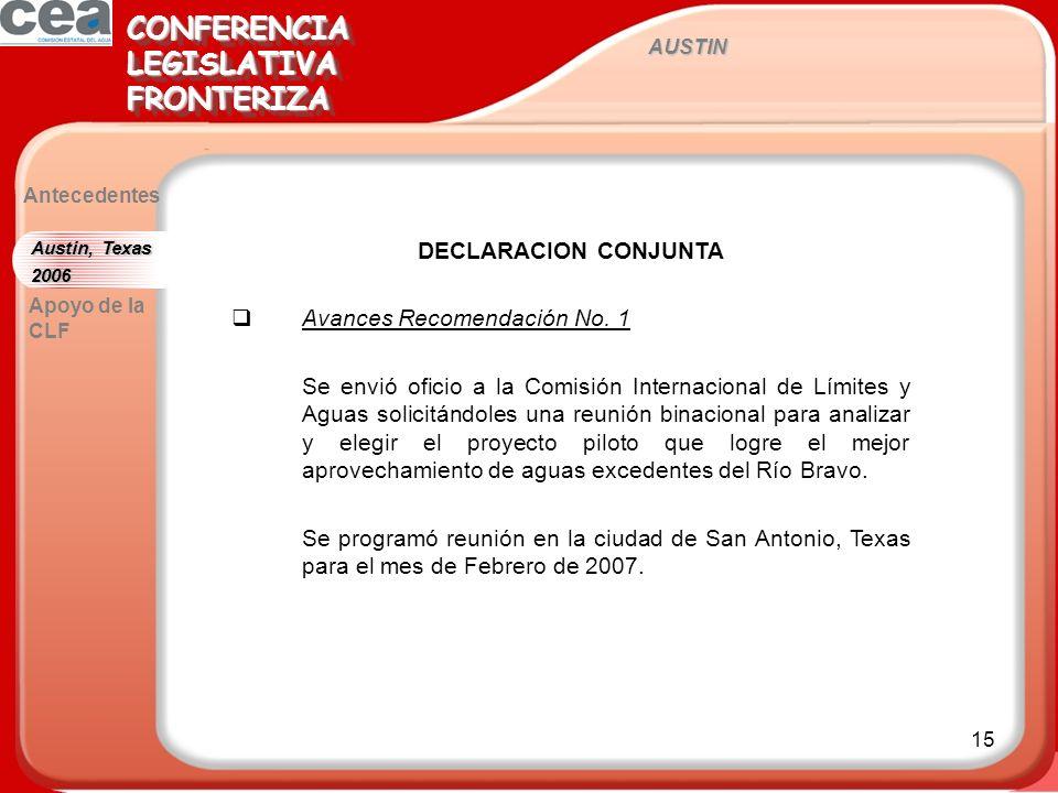15 AUSTIN CONFERENCIALEGISLATIVAFRONTERIZACONFERENCIALEGISLATIVAFRONTERIZA Antecedentes DECLARACION CONJUNTA Avances Recomendación No.