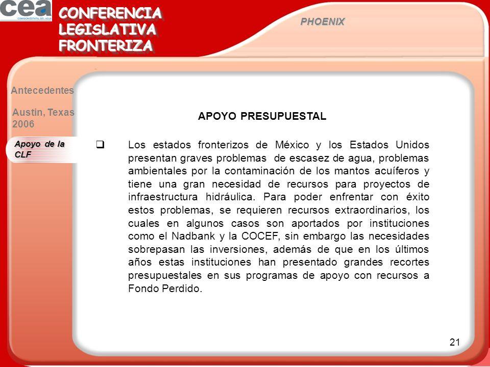 21 PHOENIX CONFERENCIALEGISLATIVAFRONTERIZACONFERENCIALEGISLATIVAFRONTERIZA Antecedentes APOYO PRESUPUESTAL Los estados fronterizos de México y los Es
