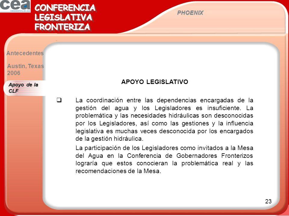 23 PHOENIX CONFERENCIALEGISLATIVAFRONTERIZACONFERENCIALEGISLATIVAFRONTERIZA Antecedentes APOYO LEGISLATIVO La coordinación entre las dependencias encargadas de la gestión del agua y los Legisladores es insuficiente.