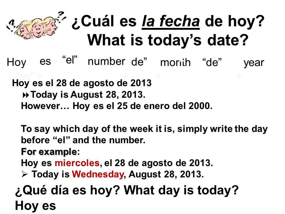 ¿Cuál es la fecha de hoy.What is todays date. ¿Cuál es la fecha de hoy.