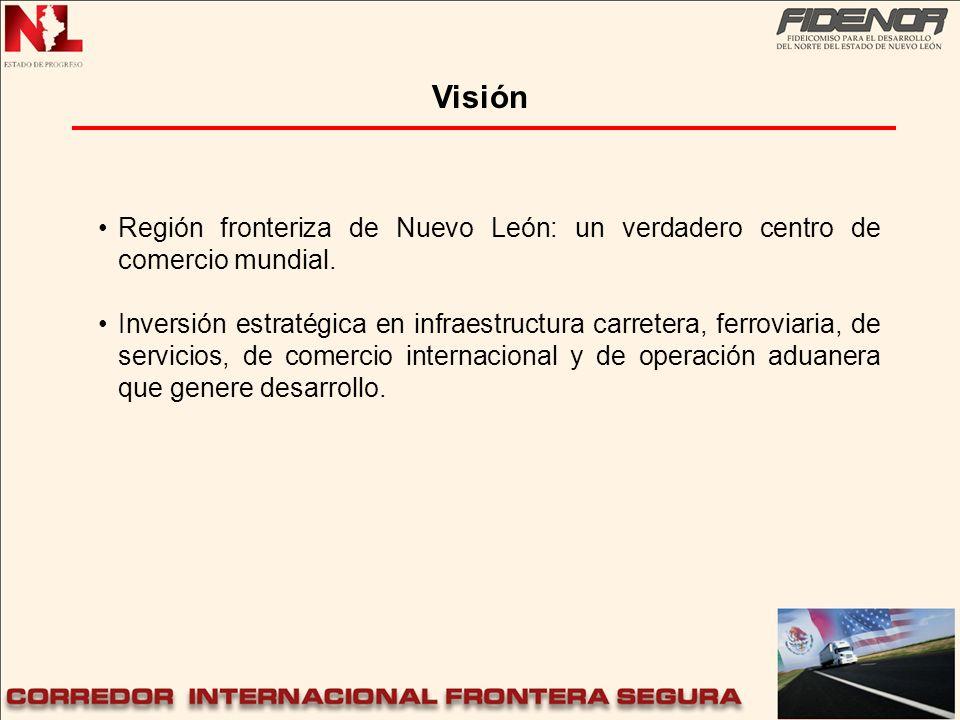 Visión Región fronteriza de Nuevo León: un verdadero centro de comercio mundial. Inversión estratégica en infraestructura carretera, ferroviaria, de s
