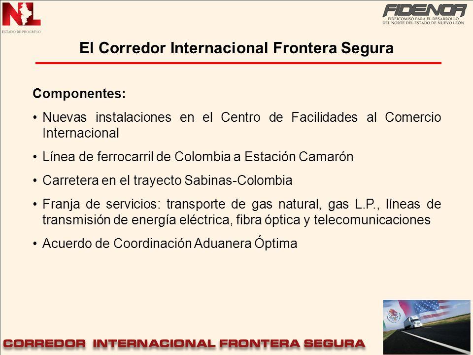 El Corredor Internacional Frontera Segura Componentes: Nuevas instalaciones en el Centro de Facilidades al Comercio Internacional Línea de ferrocarril