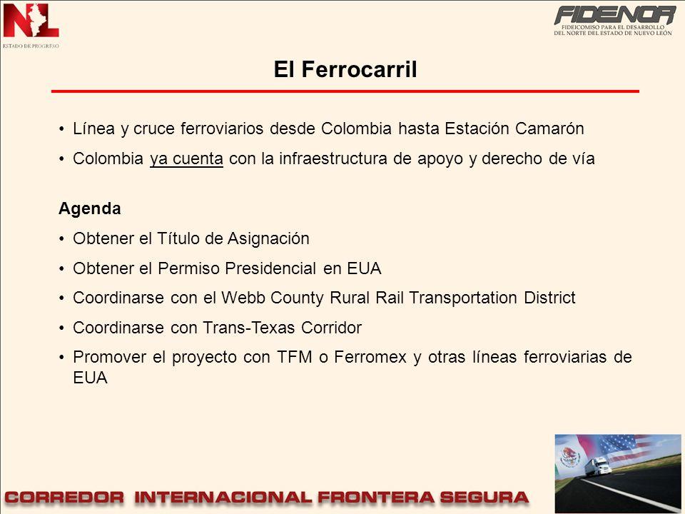 Línea y cruce ferroviarios desde Colombia hasta Estación Camarón Colombia ya cuenta con la infraestructura de apoyo y derecho de vía Agenda Obtener el
