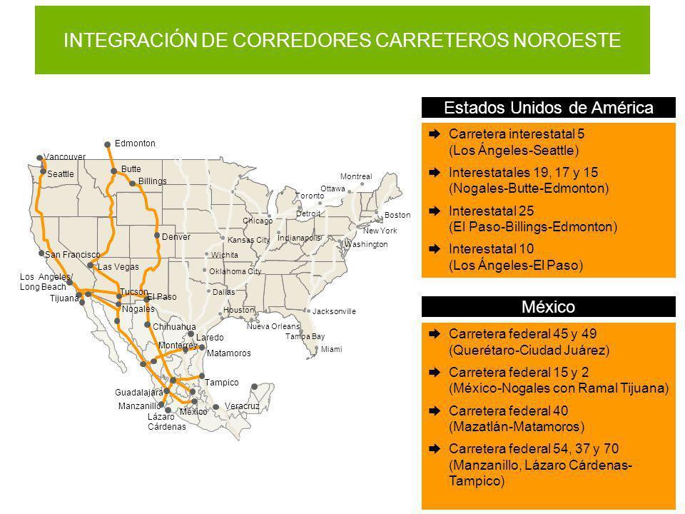 Carretera interestatal 5 (Los Ángeles-Seattle) Interestatales 19, 17 y 15 (Nogales-Butte-Edmonton) Interestatal 25 (El Paso-Billings-Edmonton) Interes
