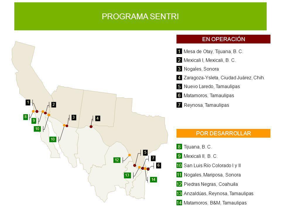 PROGRAMA SENTRI 1 Mesa de Otay, Tijuana, B. C. 2 Mexicali I, Mexicali, B. C. 3 Nogales, Sonora 4 Zaragoza-Ysleta, Ciudad Juárez, Chih. 5 Nuevo Laredo,