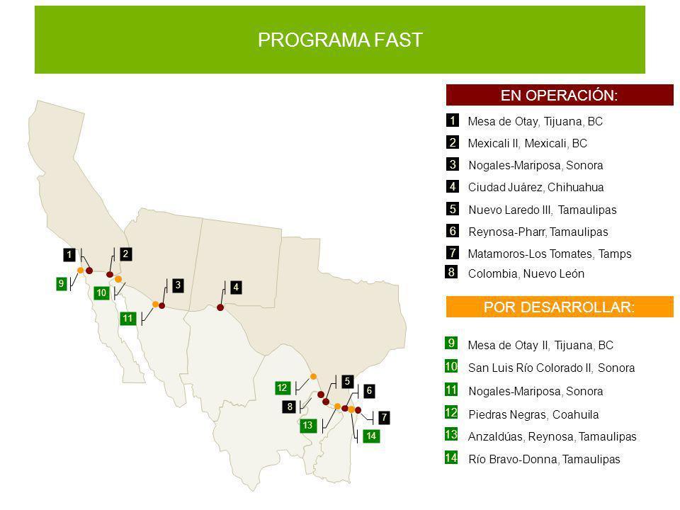 PROGRAMA FAST EN OPERACIÓN: 1 Mesa de Otay, Tijuana, BC 2 Mexicali II, Mexicali, BC 3 Nogales-Mariposa, Sonora 4 Ciudad Juárez, Chihuahua 5 Nuevo Lare