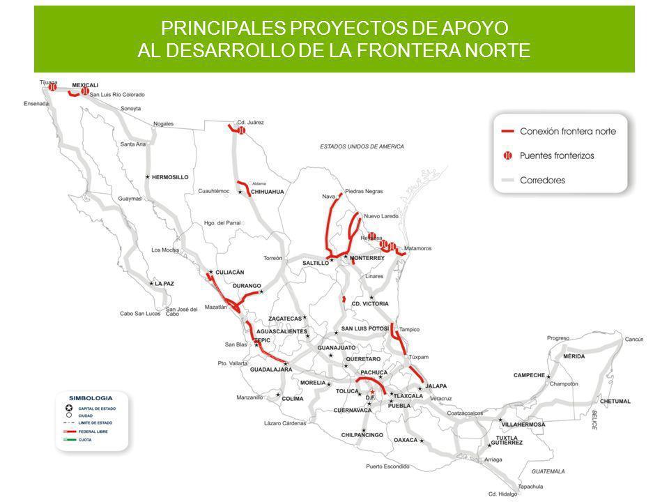 PRINCIPALES PROYECTOS DE APOYO AL DESARROLLO DE LA FRONTERA NORTE