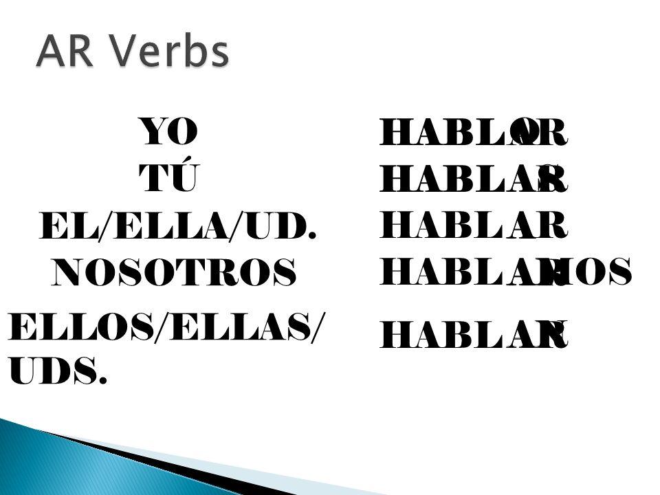 HABLAR YOO HABLAR TÚAS HABL EL/ELLA/UD. NOSOTROS ELLOS/ELLAS/ UDS. AR A AMOS AN