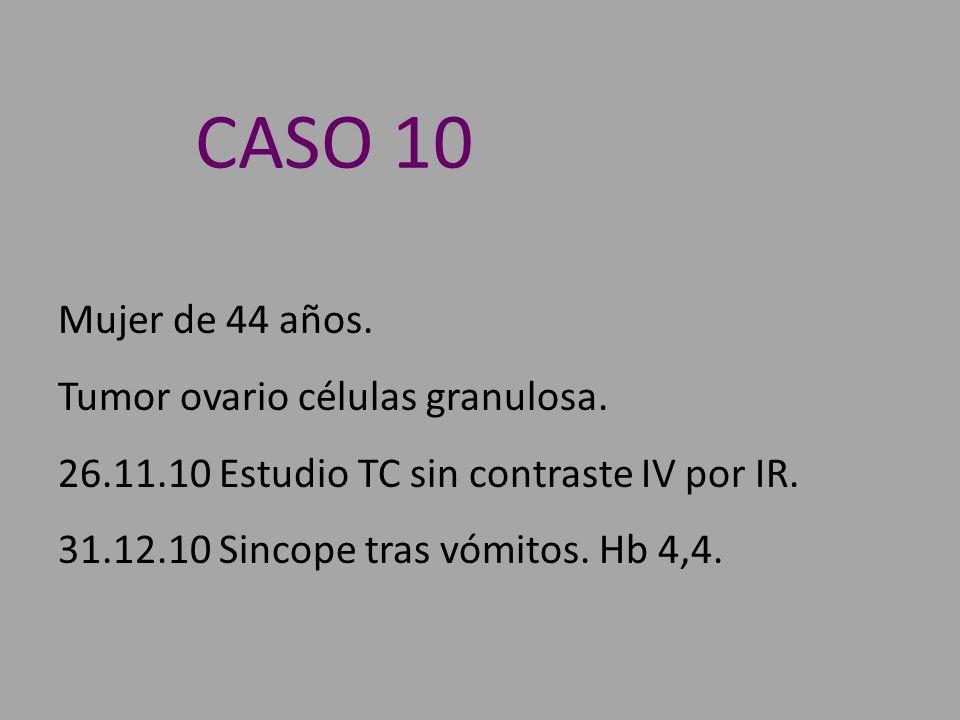 Mujer de 44 años. Tumor ovario células granulosa. 26.11.10 Estudio TC sin contraste IV por IR. 31.12.10 Sincope tras vómitos. Hb 4,4. CASO 10