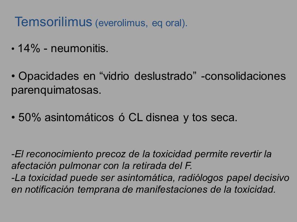 Temsorilimus (everolimus, eq oral). 14% - neumonitis. Opacidades en vidrio deslustrado -consolidaciones parenquimatosas. 50% asintomáticos ó CL disnea