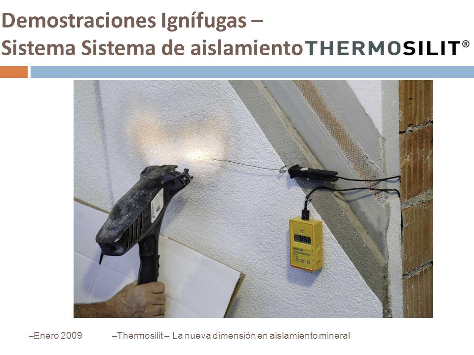 Demostraciones Ignífugas – Sistema Sistema de aislamiento –Enero 2009–Thermosilit – La nueva dimensión en aislamiento mineral
