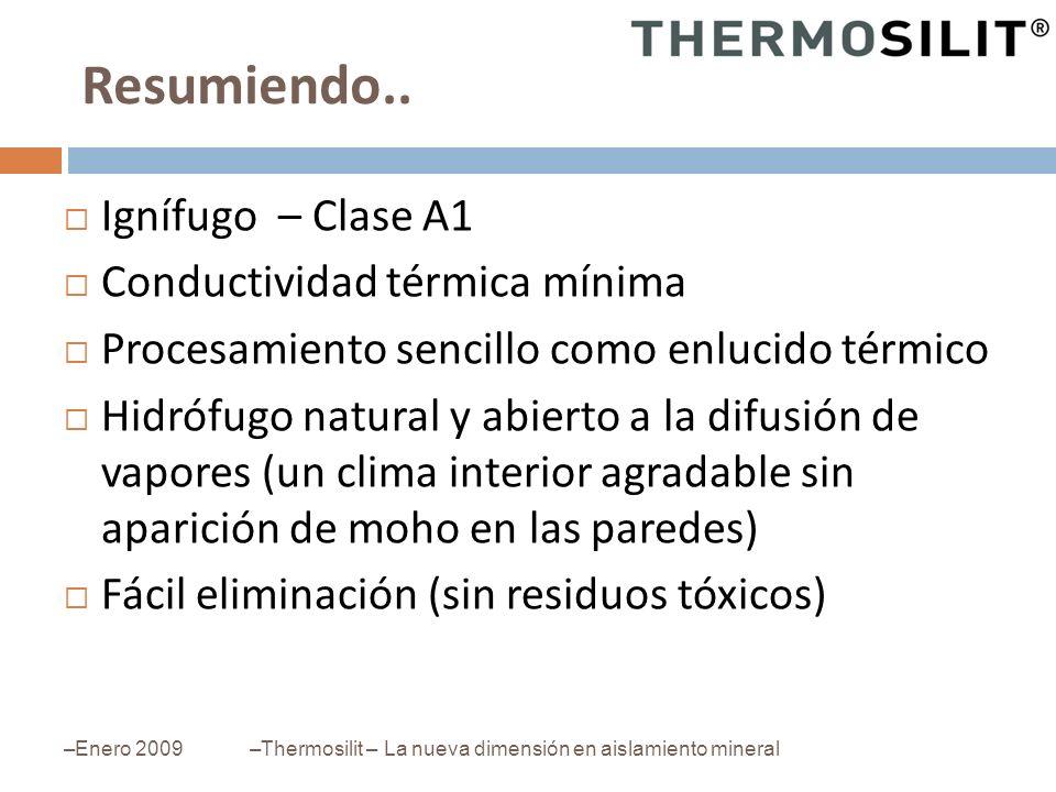 Resumiendo.. –Enero 2009–Thermosilit – La nueva dimensión en aislamiento mineral Ignífugo – Clase A1 Conductividad térmica mínima Procesamiento sencil
