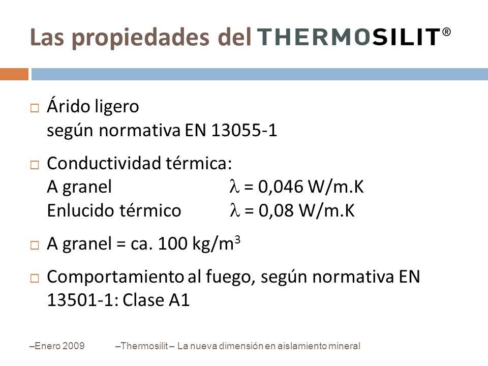 –Enero 2009–Thermosilit – La nueva dimensión en aislamiento mineral Árido ligero según normativa EN 13055-1 Conductividad térmica: A granel = 0,046 W/
