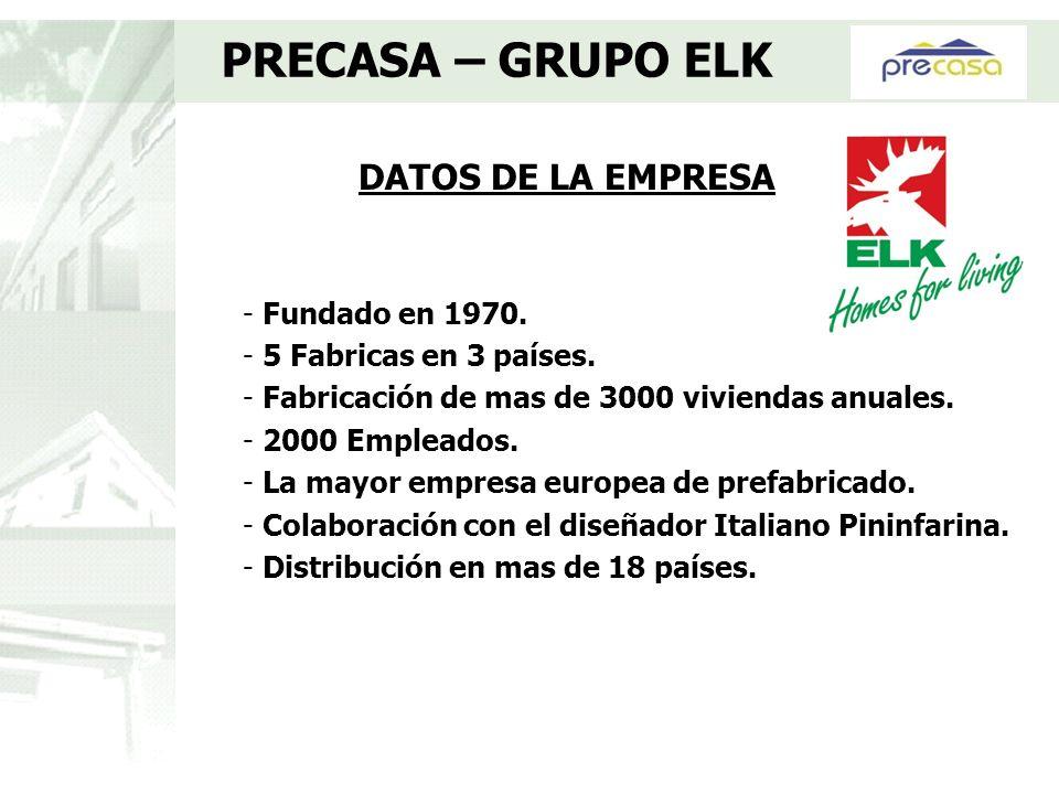 DATOS DE LA EMPRESA PRECASA – GRUPO ELK - Fundado en 1970. - 5 Fabricas en 3 países. - Fabricación de mas de 3000 viviendas anuales. - 2000 Empleados.