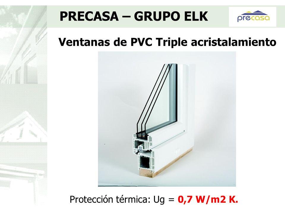 Ventanas de PVC Triple acristalamiento PRECASA – GRUPO ELK Protección térmica: Ug = 0,7 W/m2 K.