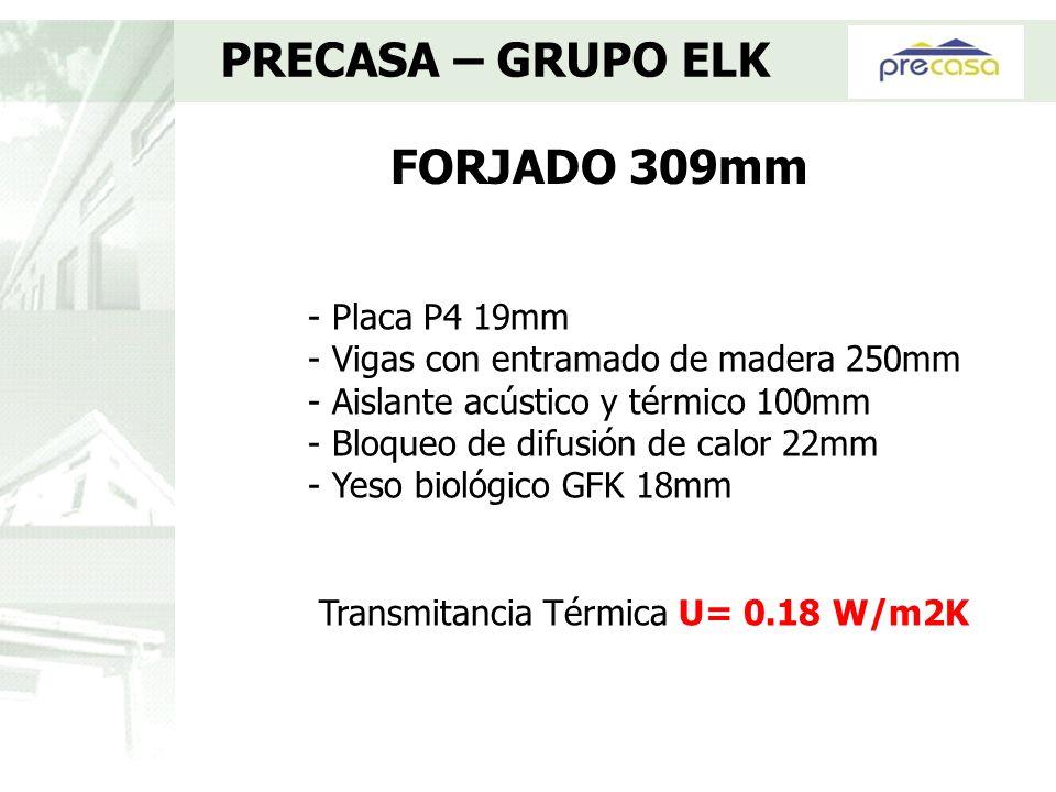 FORJADO 309mm PRECASA – GRUPO ELK - Placa P4 19mm - Vigas con entramado de madera 250mm - Aislante acústico y térmico 100mm - Bloqueo de difusión de c