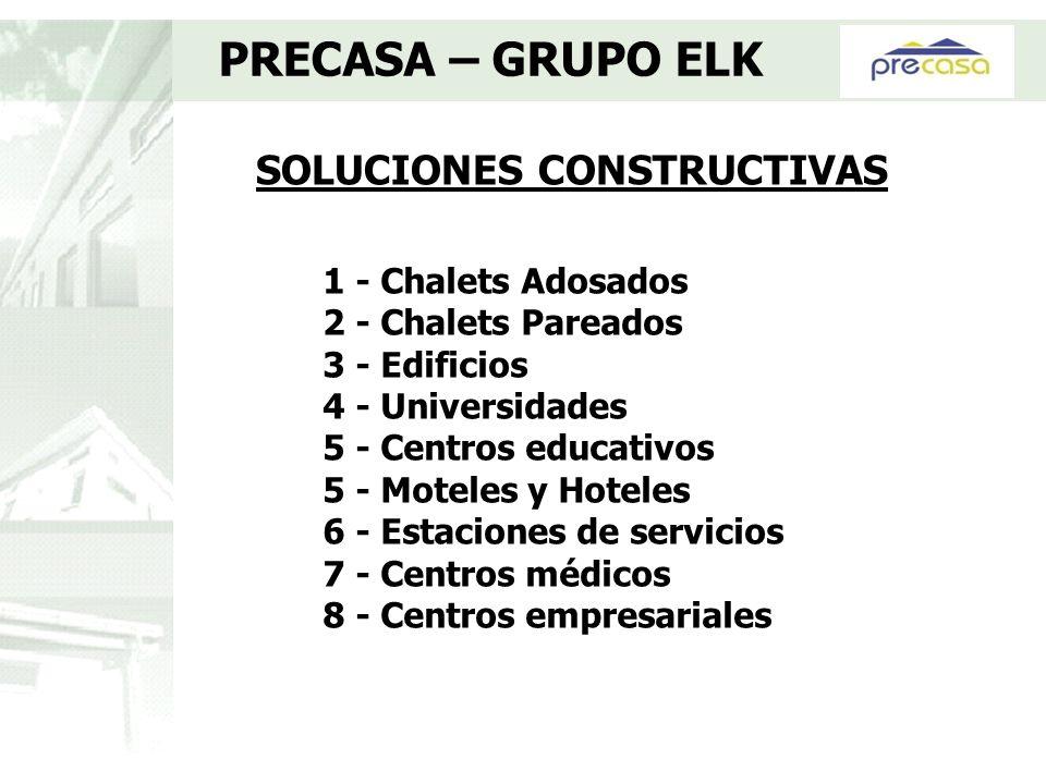 SOLUCIONES CONSTRUCTIVAS PRECASA – GRUPO ELK 1 - Chalets Adosados 2 - Chalets Pareados 3 - Edificios 4 - Universidades 5 - Centros educativos 5 - Mote