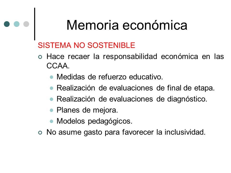 Memoria económica SISTEMA NO SOSTENIBLE Hace recaer la responsabilidad económica en las CCAA. Medidas de refuerzo educativo. Realización de evaluacion