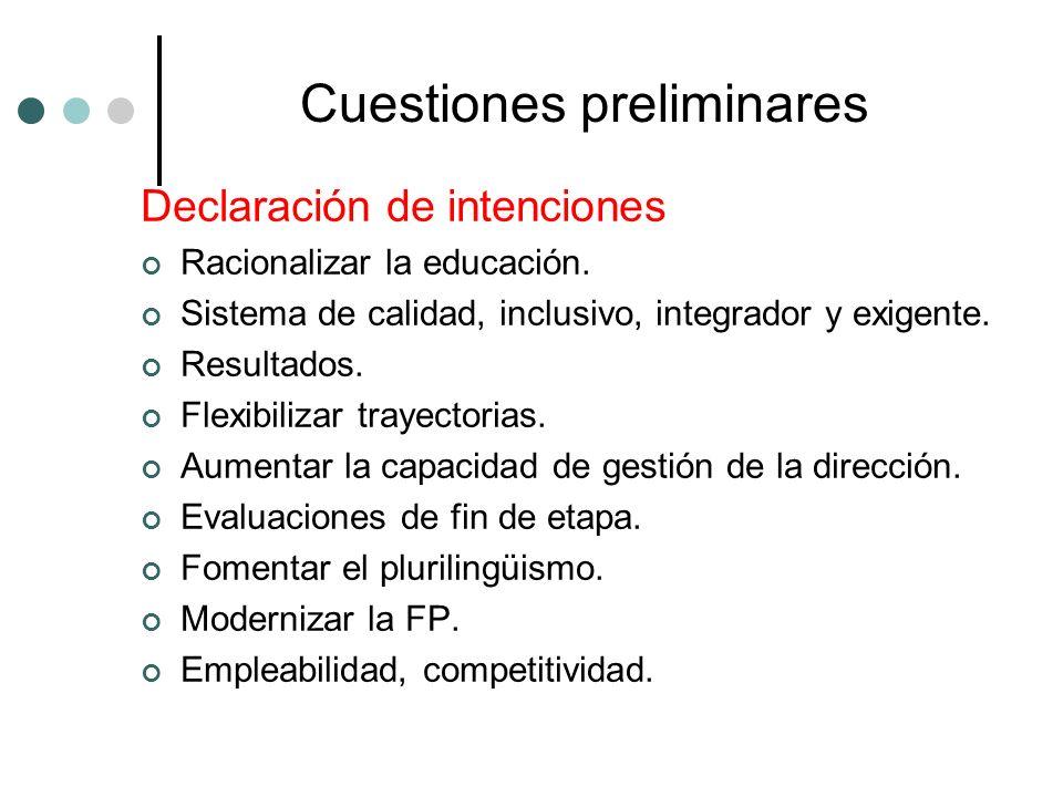 Cuestiones preliminares Declaración de intenciones Racionalizar la educación. Sistema de calidad, inclusivo, integrador y exigente. Resultados. Flexib