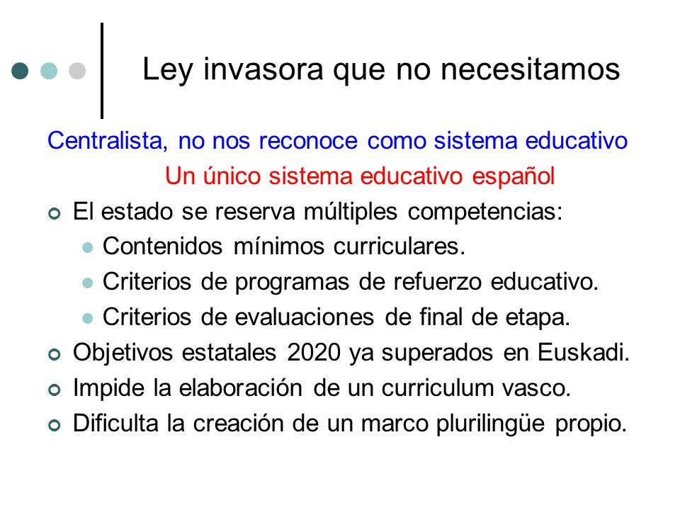 Ley invasora que no necesitamos Centralista, no nos reconoce como sistema educativo Un único sistema educativo español El estado se reserva múltiples