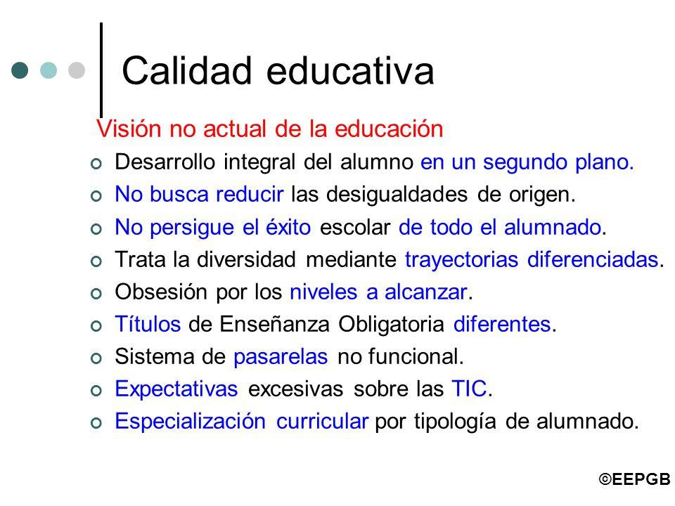 Calidad educativa Visión no actual de la educación Desarrollo integral del alumno en un segundo plano. No busca reducir las desigualdades de origen. N