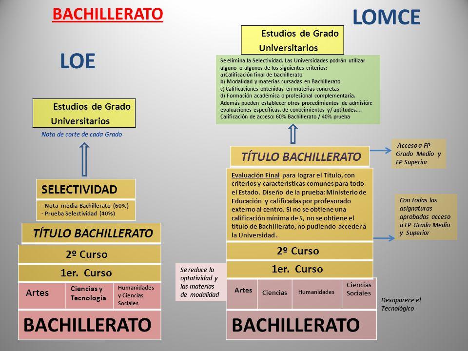 LOE Artes Ciencias y Tecnología Humanidades y Ciencias Sociales BACHILLERATO Artes Ciencias Humanidades Ciencias Sociales BACHILLERATO Desaparece el T